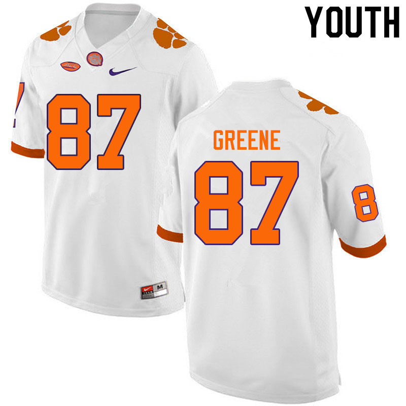 Youth #87 Hamp Greene Clemson Tigers College Football Jerseys Sale-White